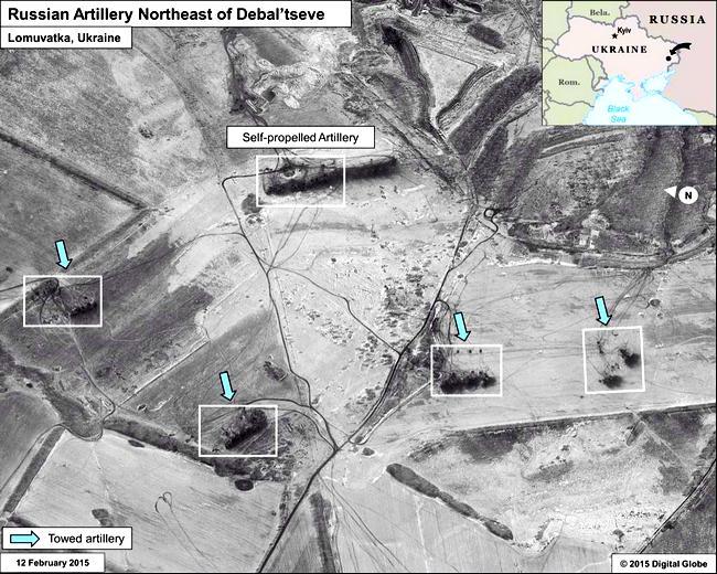 Спутниковые снимки расположения российских войск под Дебальцево и на границе