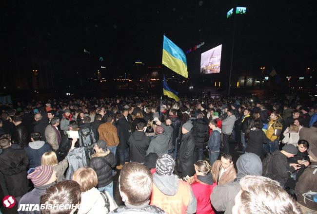 Евромайдан в Киеве, день первый: ночная хроника