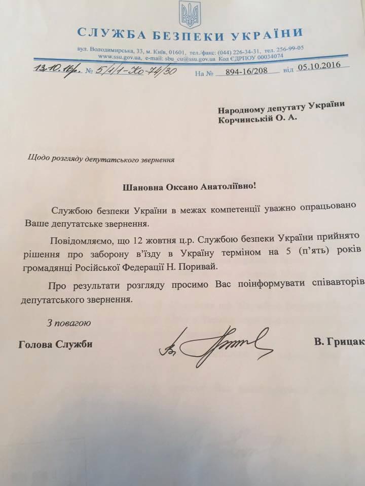 СБУ запретила въезд в Украину Наташе Королевой