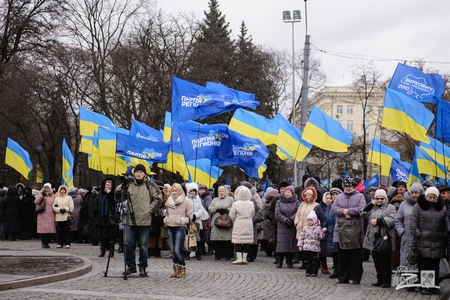 В Харькове место Евромайдана занял митинг в поддержку Януковича