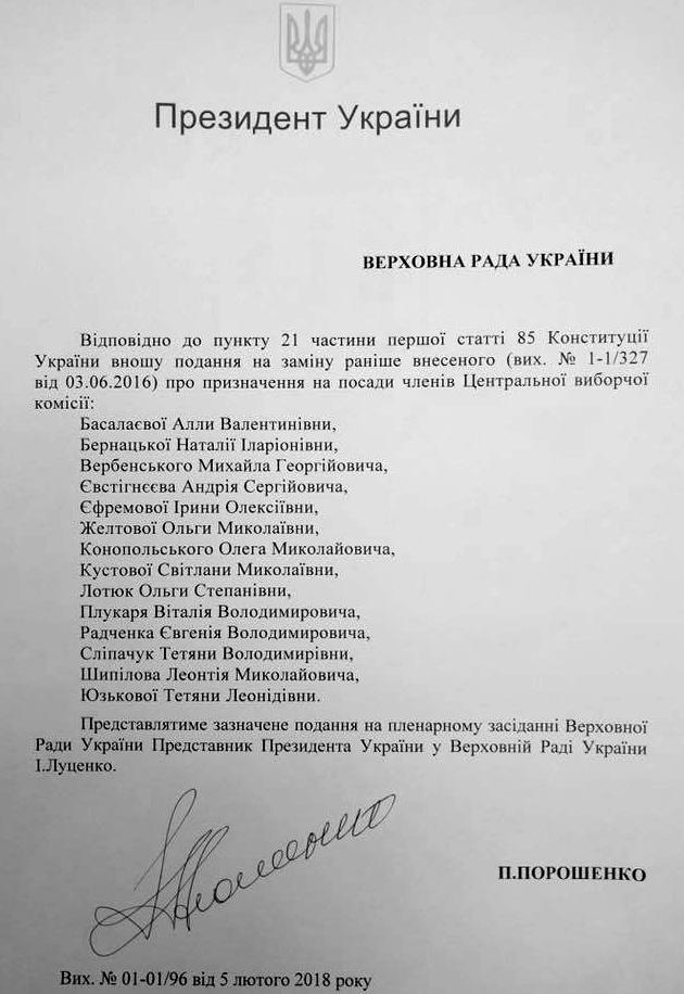 В Раду внесли представление Порошенко на членов ЦИК: список имен