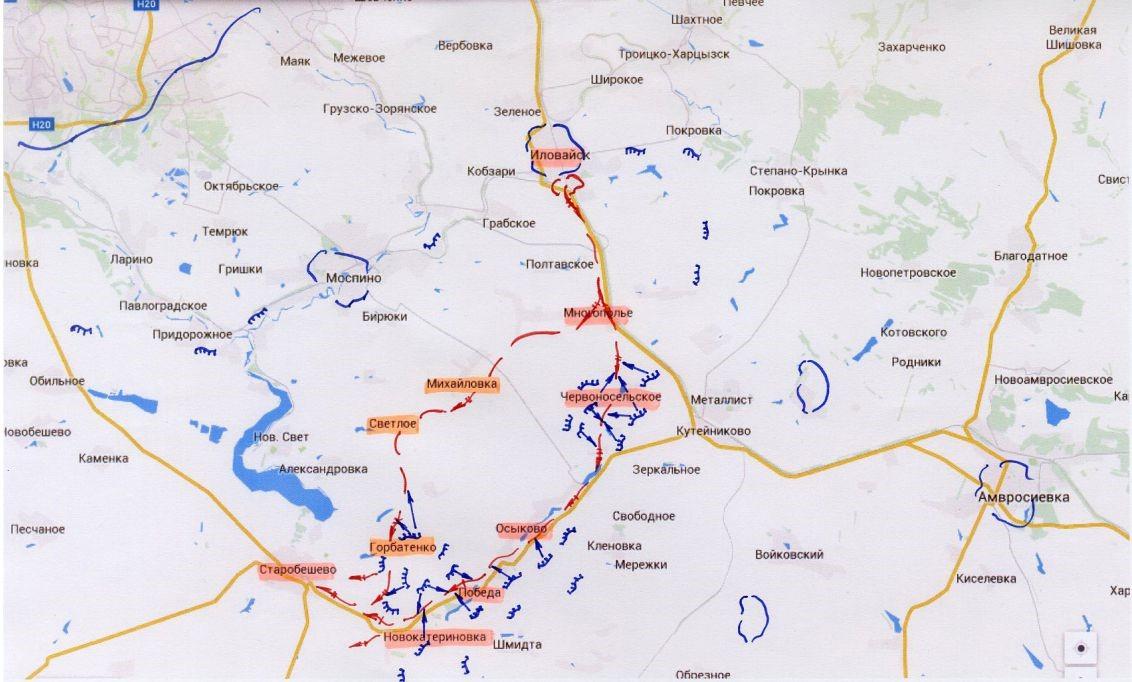 Генштаб обнародовал схему вывода сил АТО из Иловайска