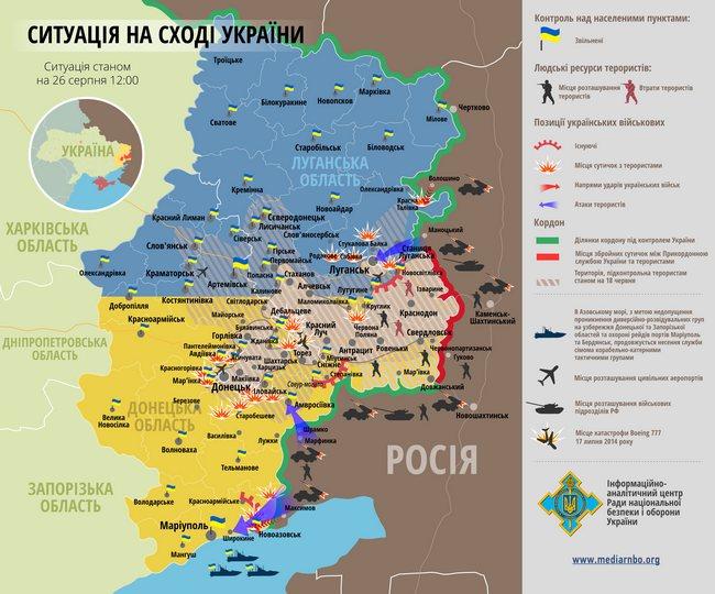 Карта АТО на 14.00 26.08.2014