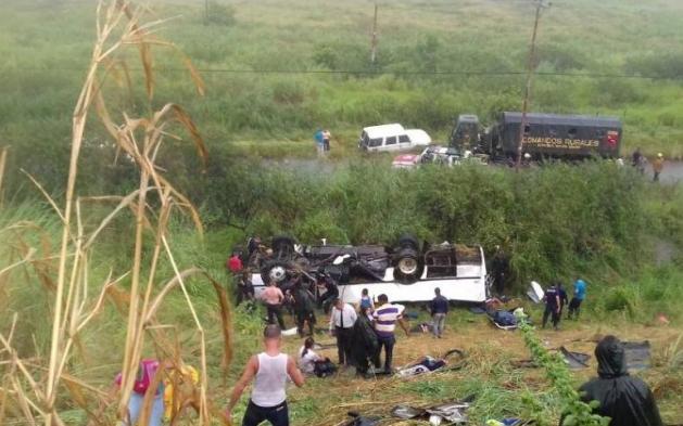 ВВенесуэле поменьшей мере 9-ти человек погибли при ДТП савтобусом