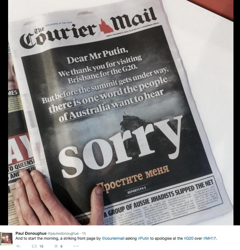 С первой полосы австралийской газеты Путина призвали извиниться