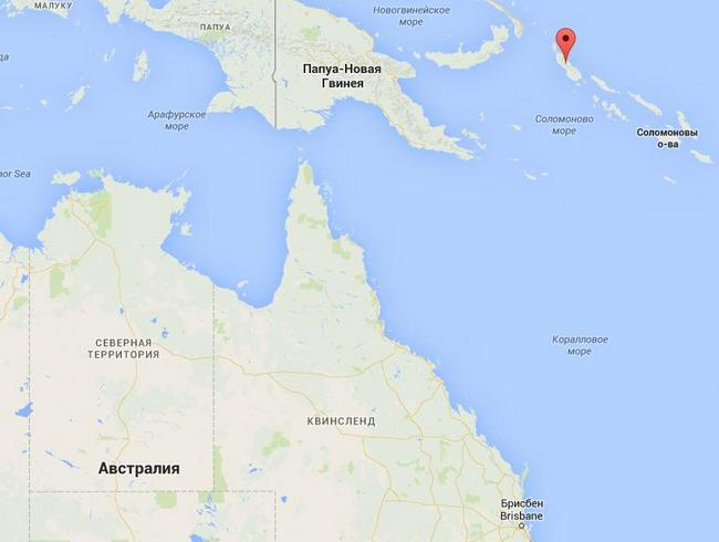 На карте отмечен город Бугенвиль, южнее которого в Коралловом море находятся российские корабли