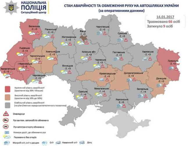 За прошлые сутки на дорогах Украины погибли 9 человек - полиция