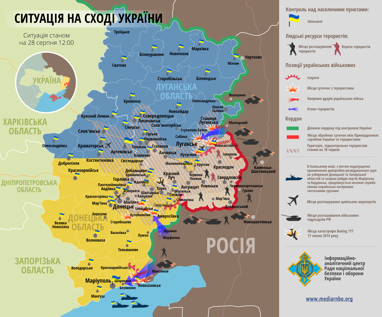 В зоне АТО продолжаются бои, в Новоазовске - войска РФ: карта