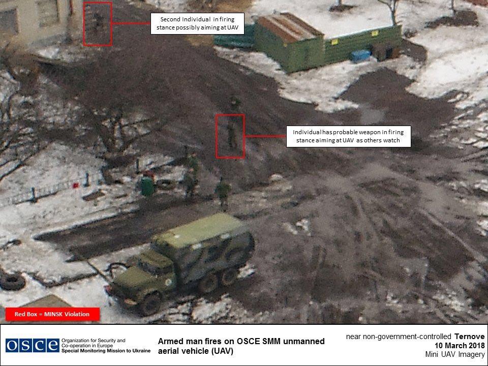Боевики обстреляли беспилотник миссии ОБСЕ: опубликовано фото