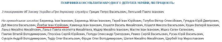 Йовбак заявил, что не связан с народным депутатом Ланьо