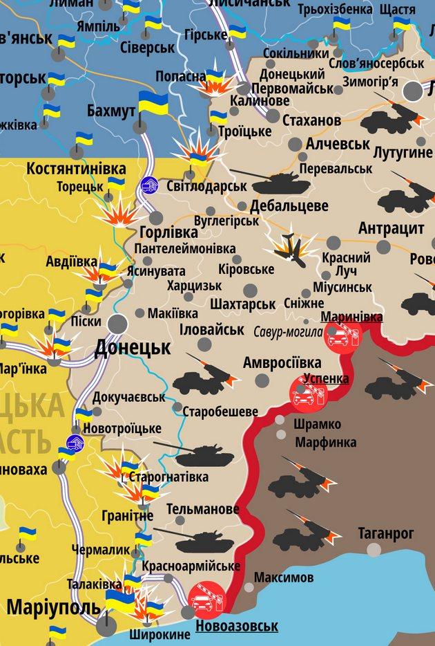 Сутки в Донбассе прошли без потерь - карта АТО