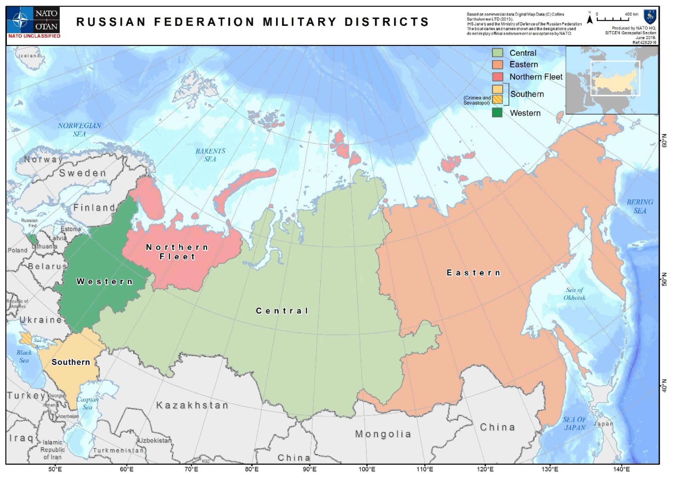 Карта военных округов РФ