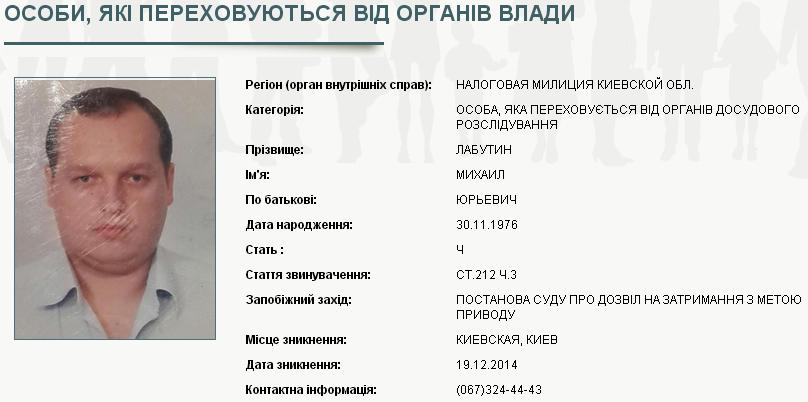 Гендиректор Укрспирта Лабутин объявлен в розыск