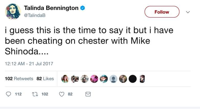 В Twitter вдовы Беннингтона появились странные твиты о его смерти