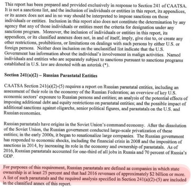 """""""Кремлевский доклад"""": Минфин США включил в список компании из РФ"""